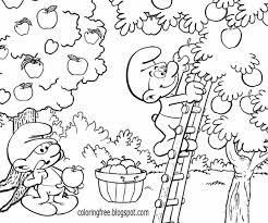 Blue Smurfs Cartoon Book Ideas Lazy Smurf Apple Picking Beautiful Garden Farmer Coloring Pages