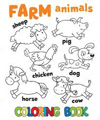 Coloring Book With Farm Animals Stock Vector 71595821