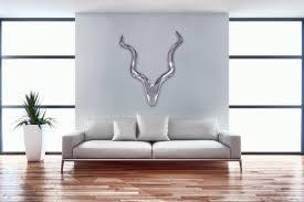weran deko hirschgeweih deer l aluminium wanddeko 80 cm landhausstil silber metall modern