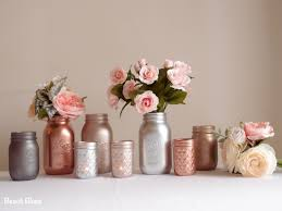 Pink Mercury Glass Bathroom Accessories by Blush Rose Gold Wedding Decor Centerpiece Metallic Mason Jars