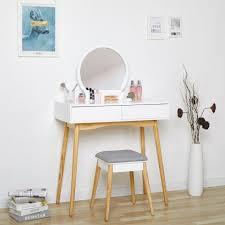 meerveil schminktisch mit spiegel und hocker frisiertisch mit 2 schubladen und massivholzbein kosmetiktisch moderner stil geeignet für