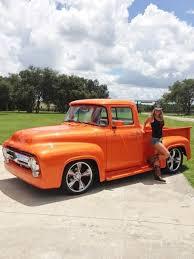 1956 Ford F100. Orange Looks Great On This Truck. Www.batsbirdsyard ...