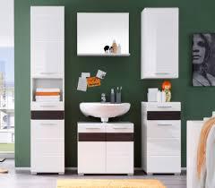 badschrank hochschrank weiß hochglanz und eiche badezimmer