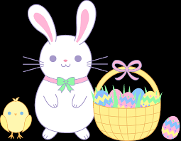 Easter Bunny and Chick with Basket Free Clip Art