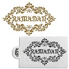 de cuisine ramadan 3pcs set pet mosque eid mubarak ramadan design coffee stencils laser