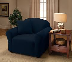 Stretch Suede Wing Chair Recliner Slipcover by Amazon Com Madison Stretch Jersey Sofa Slipcover Solid Navy