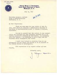 federal bureau of justice letter to george e outland with federal bureau of investigation