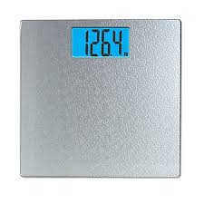 taylor digital bathroom scale with scroll design in silver bed