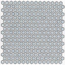 cloudy sky hexagon polished rimmed ceramic tile tilebar