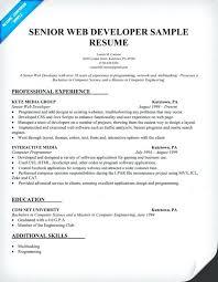 Web Developer Resume Examples 2016 Download Sample Senior Document Dow