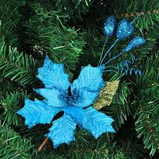 Hot Sale Blue Christmas Tree Ornament Wreath Of Branches Inserted Ear Decoration For