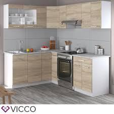 vicco küche rick l form küchenzeile küchenblock einbauküche 210 cm sonoma
