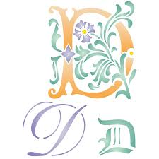 Letter Stencil D Reusable Large Decorative Fancy Initial