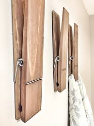 Rustic Bathroom Wall Decor Implausible SUPER HUGE Jumbo 12 Decorative Clothespin In Dark Walnut Design Ideas