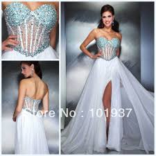 new white pageant corset prom dresses long with beads and sequins