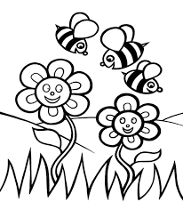 Bees And Flowers Coloring Pages For Kids