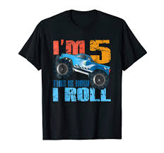Amazon.com: 5 Year Old Mud Monster Truck Birthday Auto Rally BDay ...