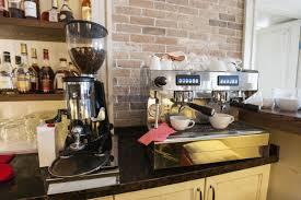 Coffee Maker And Espresso Machine At Restaurant Counter Stock Photo