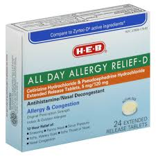 Pumpkin Seed Prostate Congestion by H U2011e U2011b All Day Allergy Relief U2011d Cetirizine 5 Mg Pseudoephedrine 120