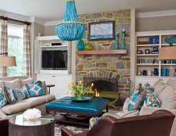 Grey Brown And Turquoise Living Room by Black And Turquoise Living Room Beige White Striped Fabric Sofa