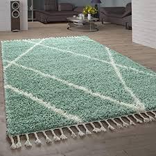 paco home shaggy teppich wohnzimmer hochflor rauten muster skandi design grösse 120x170 cm farbe grün