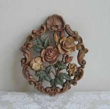 Vintage Flowers Floral Wall Art Plaque Faux Bois Carved Wood Roses Leaves Shell Flourish