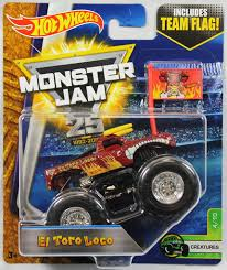 100 Team Hot Wheels Monster Truck Jam Creatures El Toro Loco Flag