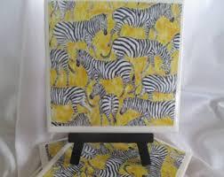 Zebra Ceramic Tile Coasters Yellow Set Of 4 Handmade Drink