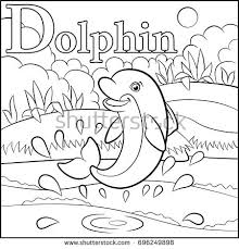 Coloring Page Cartoon Animals Alphabet D Is For Dolphin