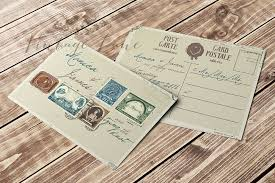 Post Card Style Wedding Invitation Vintage Lane Ireland Stationery Cork
