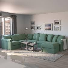 grönlid 5er eckbettsofa mit récamiere ljungen hellgrün