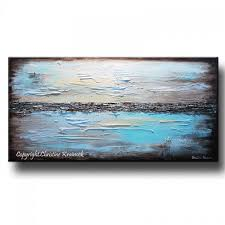 Blue And Brown Bathroom Wall Decor by Giclee Print Art Blue Abstract Painting Modern Coastal Canvas