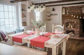 Try Incorporating Some Color In Your Dining Table Decor Like This Fantastic Mix Of Whites And Reds Each Compliments Rustic Old Fireplace