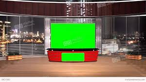 Virtual Studio News Broadcast Television Red Color Stock Video Footage