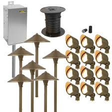 brass led landscape lighting kit 12 spotlights 6 path lights