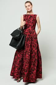 red black floral brocade dress ch carolina herrera floral