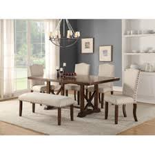 Esofastore Classic Luxury Look Dining Table W Leaf Cream Fabric Upholstery Cushioned Chairs Nail Head Bench