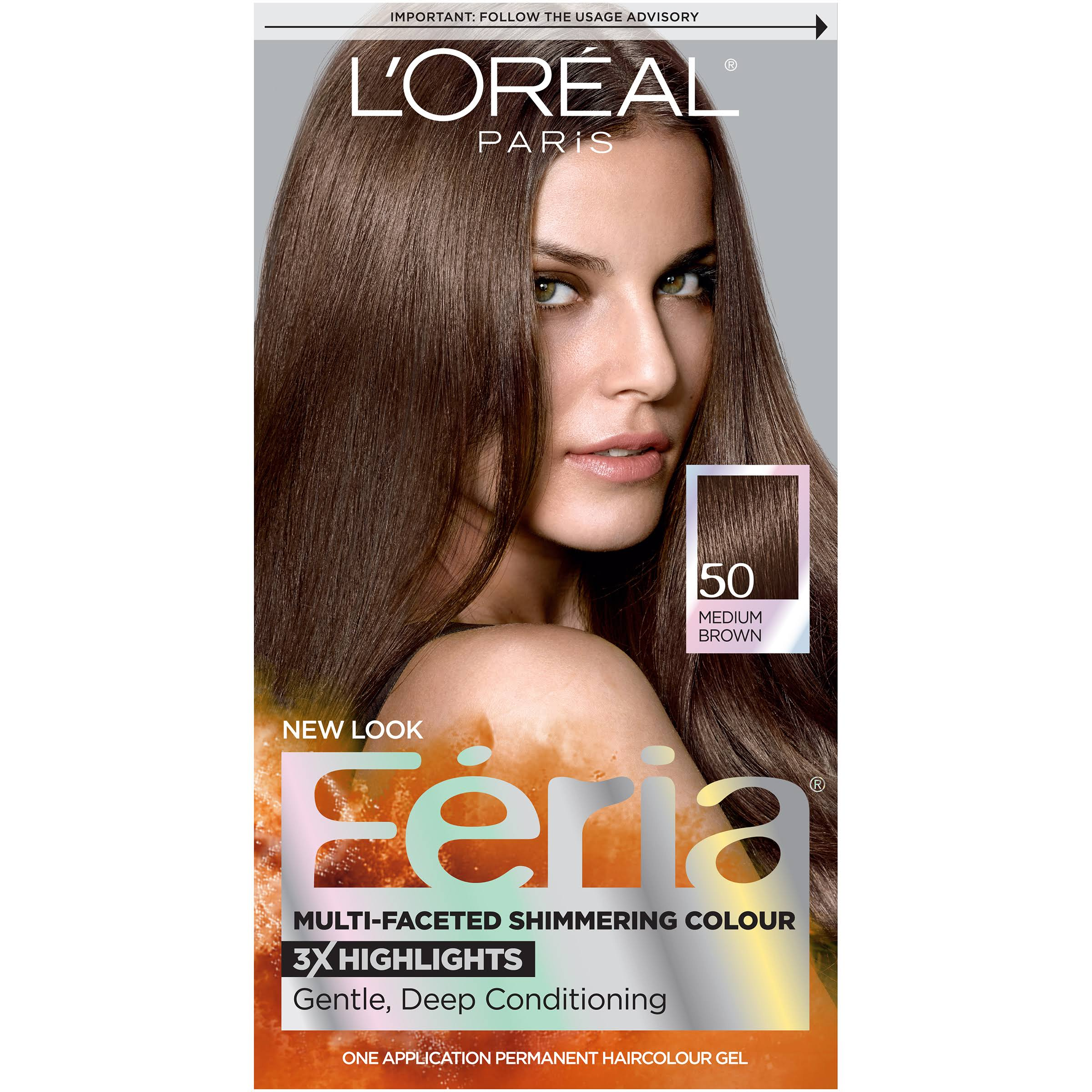 L'oreal Paris Feria Permanent Hair Color Gel - 50 Medium Brown