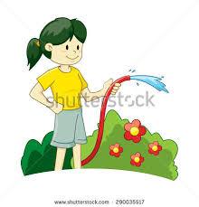 Vector Illustration Girl Watering Plant Stock Vector