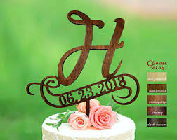 H Cake Topper Toppers For Wedding Rustic Initial