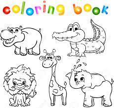 Conjunto De Animales Salvajes Primero Libro Para Colorear Para Los