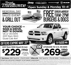 Memorial Day Sales Event, Transitowne Jeep/Chrysler/Dodge/RAM ... New Ram 2500 Deals And Lease Offers Dodge Truck Leases 2017 Charger Month At Fields Chrysler Jeep 1500 Four What Ever Happened To The Affordable Pickup Feature Car Best 2018 31 Cool Dodge Truck Rebates Otoriyocecom 66 D100 Adrenaline Capsules Pinterest Mopar Larry H Miller Riverdale 2019 Refined Capability In A Fullsize Goanywhere Latest Ram 199 Per Month Lease 17 Sheboygan Ferman Cjd Tampa Fermancjdtampa Twitter The Worlds Newest Photos Of Logo Ram Flickr Hive Mind