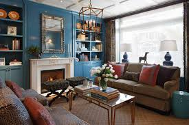 Living Room With Fireplace And Bookshelves by Furniture Classical Living Room With Blue Wall Bookshelves And