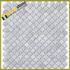 carrara marble mosaic tile medium fish scale fan shaped mosaic