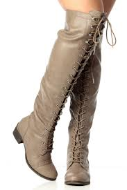 beige over the knee military lace up boot cicihot boots catalog