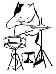 Cat Drummer Coloring Page