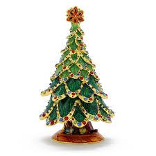 Christmas Gifts Under Green Tree Trinket Box With Swarovski Crystal