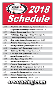 2018 ARCA Racing Series Presented By Menards Schedule Revealed | Nascar Camping World Truck Series Nextera Energy Rources 250 Old Mosport Gets Truck Race My Cars Speed Sport Xfinity Stadium Super Scca Pro Trans 2018 Playoff Schedule Am Racing Jj Yeley Readies North Carolina Education Lottery Fr8auctions Cupscenecom To Air On Antenna Tvnascar Site 2016 Winners Official Of Arca Presented By Menards Schedule Revealed
