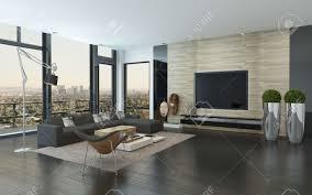 geräumige moderne wohnzimmer mit dunklen grauen und weißen dekor die stadt durch panorama vom boden bis zur decke reichenden fenster mit blick auf