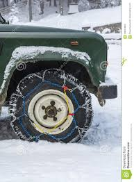 Snow Chains Mounted On The Wheel Of An Off-road Vehicle. Editorial ...
